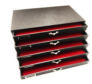 Grained Leatherette 5 Drawer Wood Display Storage Cabinet Case With Red Pads