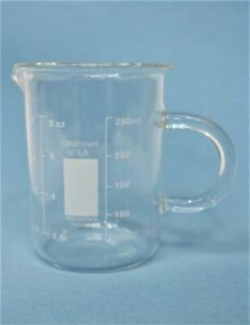 Glass Heavy Duty Beaker Low Form 8 Oz pack Of 6 8vmv7
