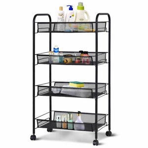 4 Tier Kitchen Mesh Rolling Cart File Utility Storage Basket Home Office Black