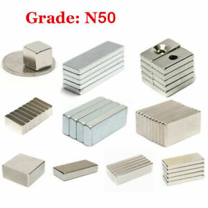 Small N50 Neodymium Block Square Magnet Strong Rare Earth W hole Magnets Aaa0819