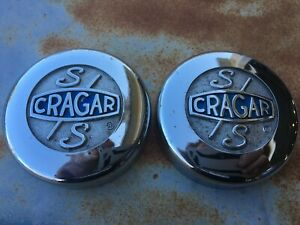 Pr Vintage Cragar Ss Wheel Rim Center Cap Metal Chrome 3 1 4 Diameter Rat Rod