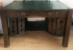 Antique Mission Oak Library Desk Table Circa 1905