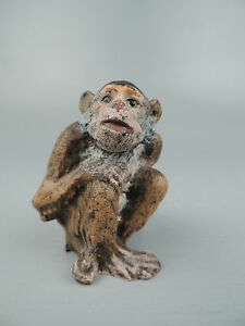 Cold Painted Vienna Bronze Of A Seated Monkey Or Chimpanzee Austrian Br