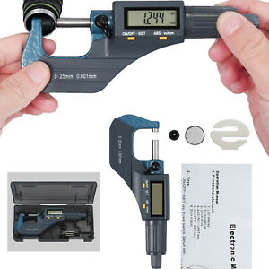 0 1 0 00005 Digital Electronic Outside Micrometer Carbide 0 25mm W Lcd Display