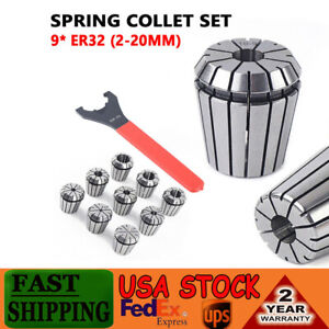 9x Er32 Spring Collet Set W wrench For Cnc Milling Lathe Tool Engraving Machine