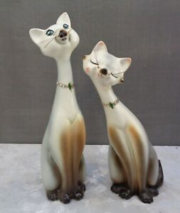 Vintage Mid Century Modern Norcrest Ceramic Siamese Cats Jewels Long Whiskers