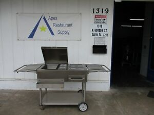Stainless Steel Mobile Concession Stand food Cart W ice Bin Steam Pan 3477