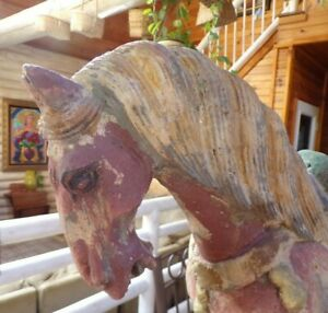 Antique Primitive Hand Painted Hand Carved Folk Art Wooden Horse