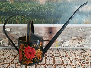 Vintage Toleware Hand Painted Large Watering Can Yellow Blue Beige Green Flowers
