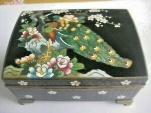 Vintage Japanese Cloisonne Music Jewelry Box Signed Inaba Cloisonne Company