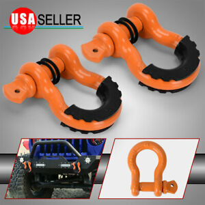 2pc D Ring Orange Shackles 3 4 Clevis Shackle With 7 8 Pin Max 57 000 Lbs