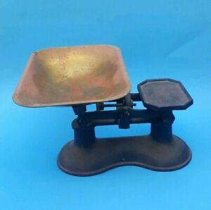 Vintage English Cast Iron Black Salter Kitchen Candy Kitchen Weigh Scale Tray