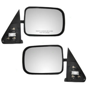 Pair Side Manual Mirrors For 94 97 Dodge Ram Truck Standard Mount Textured Set