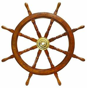 Vintage Collectible Brass Wall Boat 36 Ship Wheel Wooden Ship Steering Decor