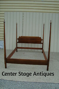 00001 Statton Oldtowne Solid Cherry Queen Poster Bed W Wood Side Rails