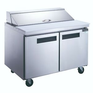 New Dukers Dsp48 12 s2 2 door Commercial Food Prep Table Refrigerator In Stainle