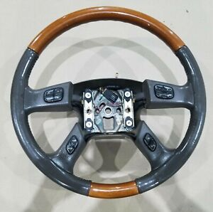 2003 2006 Cadillac Escalade Ext Steering Wheel Leather Gray And Woodgrain Oem