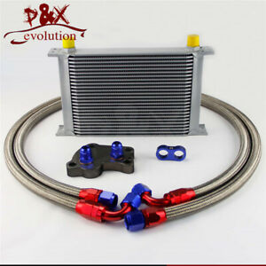 An10 25 Row Engine Oil Cooler Kit For Bmw Mini Cooper S R53 Supercharger Silver
