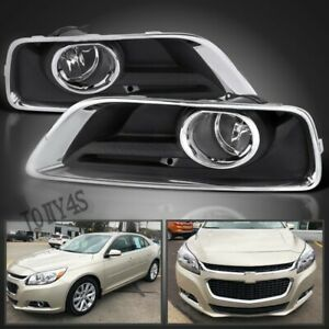 2013 2015 Chevy Malibu Clear Fog Lights Bumper Driving Lamps W Switch Bezel Us