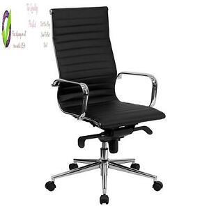 Flash Furniture High Back Black Ribbed Leather Executive Swivel Chair With Knee
