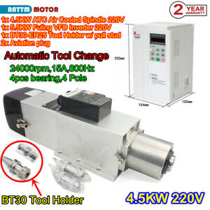 Cnc 4 5kw 220v Bt30 Atc Air Cooled Automatic Tool Change Spindle Motor