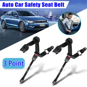 2x Universal 3 Point Car Safety Seat Belt Lap Retractable Shoulder Diagonal Belt