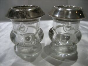 Vintage Mid Century Signed Laben Sterling Silver Glass Toothpick Holder Pair