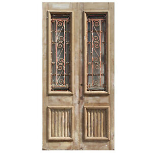 Salvaged Pair Of 44 French Colonial Doors With Iron Inserts Ned1067