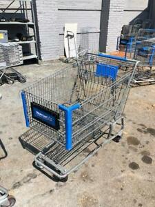 Shopping Carts Gray Metal Basket Large Buggies Used Store Fixtures Blue Buggy