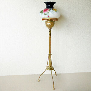 Antique Hurricane Floor Oil Lamp Solid Brass With Shade Converted To 115v
