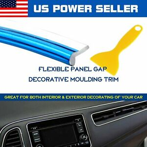 Panel Gap Trim Molding Strip W Tool Free Car Interior Decorate Chrome Blue 12ft