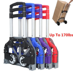 170 Lbs Cart Folding Hand Truck Dolly Push Collapsible Trolley Luggage Portable