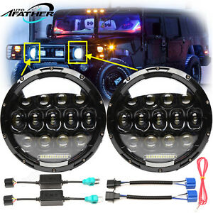 7 inch Round Led Headlights Lamp Drl Hi lo For Hummer H1 H2 Am General 1992 2009