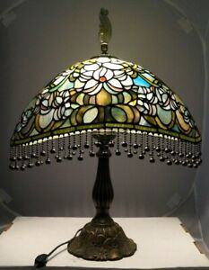 Vintage 1950s 60s Era Leaded Stained Art Glass Shade Electric Table Lamp