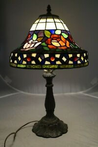 Vintage 1950s 60s Era Leaded Stained Art Glass Dome Shade Electric Table Lamp