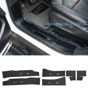 Carbon Fiber Leather Side Door Sill Guards Plate Trim For Ford Explorer 2013 19
