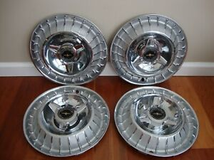 1963 63 Ford Thunderbird T Bird Hubcaps Wheel Covers Set Of 4 Original Oem