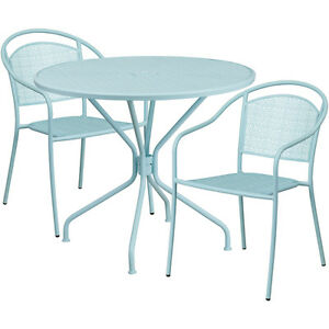 35 25 Round Sky Blue Indoor outdoor Patio Restaurant Table Set W 2 Chairs