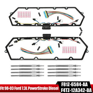 For 98 03 Ford 7 3l Powerstroke Diesel Valve Cover Gaskets Harness 8 Glow Plug