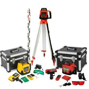 500m Self leveling Rotary Grade Laser Level W Tripod And 16 Rod Inch Red green