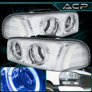 For 99 06 Gmc Sierra Yukon Dual Halo Projector Chrome Headlight Lamp Clear Side