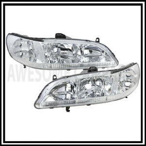 Euro Chrome Housing Clear Lens Headlights Lamp Jdm For 98 00 01 02 Honda Accord