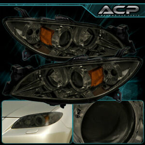 Headlight For 04 09 Mazda 3 Chrome Housing Amber Reflector Smoke Lens Projector