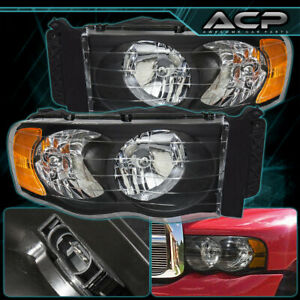 02 05 Dodge Ram 1500 2500 3500 Direct Replacement Head Lights Lamps Black Amber