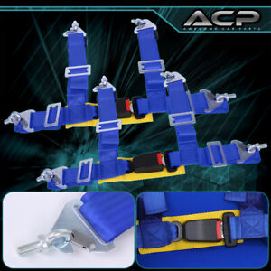 2 X Universal Pair 2 Blue 4 Point Buckle Racing Seat Belt Harness Latch Link