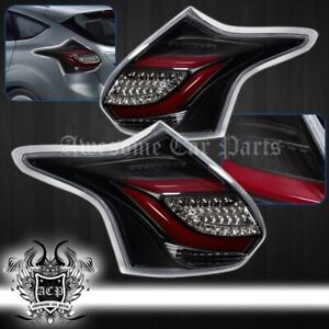 Black Housing Clear Lens Led Red Bar Tail Lights For 2012 2013 2014 Ford Focus