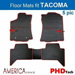 Heavy Duty All Weather Rubber Car Floor Mats Fit Tacoma 2012 2020 Red Trim