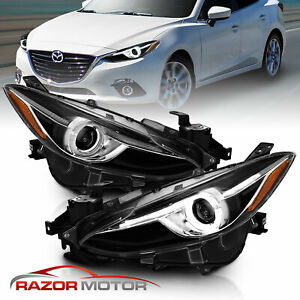 plus Led Halo 2014 2015 2016 Mazda 3 Black Projector Replacement Headlights