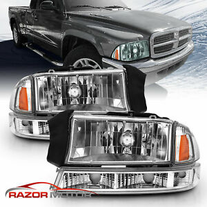 1997 2004 Dodge Dakota 1998 2003 Durango Chrome Bumper Signal Headlights Lamps