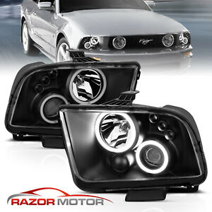 dual Led Halo 2005 2009 Ford Mustang Black Projector Headlights Set